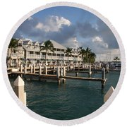 Round Beach Towel featuring the photograph Waterfront Key West by Christiane Schulze Art And Photography