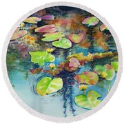 Waterlilies In Shadow Round Beach Towel