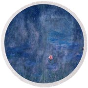 Waterlilies Reflections Of Trees, Detail From The Central Section, 1915-26  Round Beach Towel