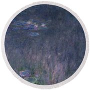 Waterlilies Reflections Of Trees, Detail From The Left Hand Side, 1915-26 Round Beach Towel