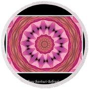 Waterlily Flower Kaleidoscope 3 Round Beach Towel by Rose Santuci-Sofranko