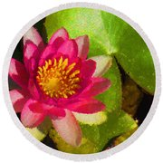 Waterlily Impression In Fuchsia And Pink Round Beach Towel