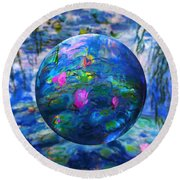 Lilly Pond Round Beach Towel by Robin Moline
