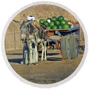 Watermellon Cart Karnac Egypt Round Beach Towel