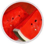 Watermelon Round Beach Towel by Nancy Merkle