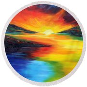 Round Beach Towel featuring the painting Waters Of Home by Meaghan Troup