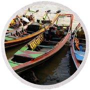 Watertaxis At The Yangon River Nan Thida Ferry Terminal Yangon Myanmar Round Beach Towel