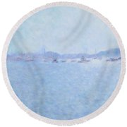 Waterway Of Beautiful France Round Beach Towel