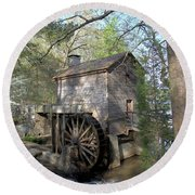 Round Beach Towel featuring the photograph Waterwheel At Stone Mountain by Gordon Elwell