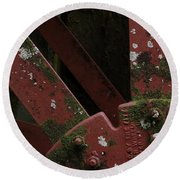 Round Beach Towel featuring the photograph Waterwheel Up Close by Daniel Reed