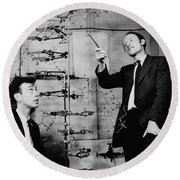 Watson And Crick With Dna Model Round Beach Towel