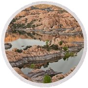 Watson Lake Sunset Round Beach Towel