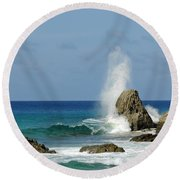 Wave At Boldro Beach Round Beach Towel by Vivian Christopher