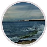Round Beach Towel featuring the photograph Wave Crashing At Cape May Cove by Ed Sweeney