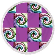 Wave Of Purple 2 Round Beach Towel