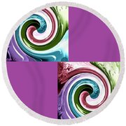 Wave Of Purple Round Beach Towel