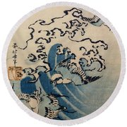 Waves And Birds Round Beach Towel by Katsushika Hokusai