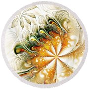 Waves And Pearls Round Beach Towel