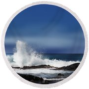 Round Beach Towel featuring the photograph Waves by Athala Carole Bruckner