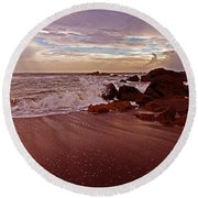 Waves Break Hands Shake Round Beach Towel by Lydia Holly
