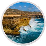 Waves Breaking At The Coast, Aruba Round Beach Towel
