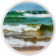 Waves Crash Round Beach Towel by Michelle Calkins