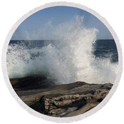 Waves Crashing On Rocky Maine Coast Round Beach Towel