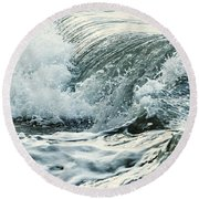 Waves In Stormy Ocean Round Beach Towel