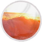 Waves In Sunset Round Beach Towel