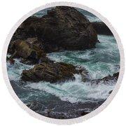 Waves Meet Rock Round Beach Towel