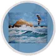 Waves Of The Sea Round Beach Towel