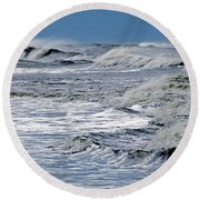 Waves Off Sandfiddler Rd Corolla Nc Round Beach Towel by Greg Reed