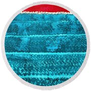 Waves Original Painting Round Beach Towel by Sol Luckman