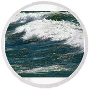 Waves Triptych Ll Round Beach Towel by Michelle Calkins
