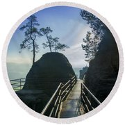Way Into The Light On Neurathen Castle Round Beach Towel