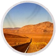 Way Open Road Round Beach Towel by Byron Varvarigos