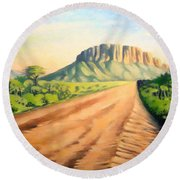Round Beach Towel featuring the painting Way To Maralal by Anthony Mwangi