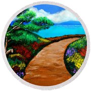 Way To The Sea Round Beach Towel by Cyril Maza