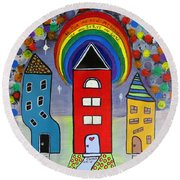 We Choose To Serve - Original Whimsical Folk Art Painting Round Beach Towel