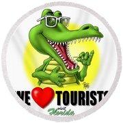 We Love Tourists Gator Round Beach Towel