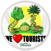 We Love Tourists Snake Round Beach Towel