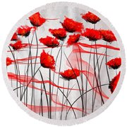 We Remember- Red Poppies Impressionist Painting Round Beach Towel
