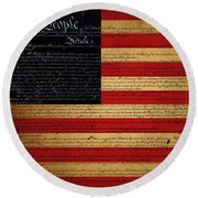 We The People - The Us Constitution With Flag - Square Round Beach Towel
