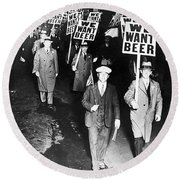 We Want Beer Round Beach Towel by Bill Cannon
