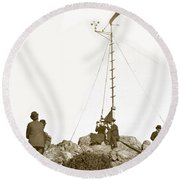 Round Beach Towel featuring the photograph Weather Station Mount Tamalpais Marin County California Circa 1902 by California Views Mr Pat Hathaway Archives