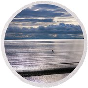 Round Beach Towel featuring the photograph Weather Water Waves by Jordan Blackstone