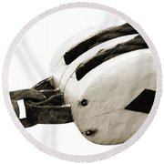 Weathered Pulley Round Beach Towel