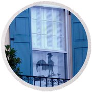 Round Beach Towel featuring the photograph Charleston Weathervane Reflection by Kathy Barney