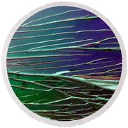 Webs Of Green And Purple Round Beach Towel