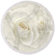Wedding Day White Roses Round Beach Towel